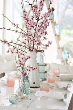 This might have been found on the table during Zena Hawkins' stay at Bridgewater to remind her of the almond orchard where she got married.    Easter Ideas...the table - All Things Heart and Home