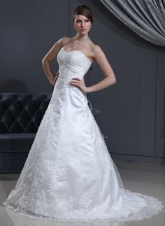 A-Line/Princess Sweetheart Court Train Satin Tulle Wedding Dress With Lace Beading (002000126) http://www.dressdepot.com/A-Line-Princess-Sweetheart-Court-Train-Satin-Tulle-Wedding-Dress-With-Lace-Beading-002000126-g126 Wedding Dress Wedding Dresses #WeddingDress #WeddingDresses