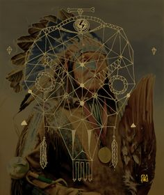 Native American with skull dream catcher