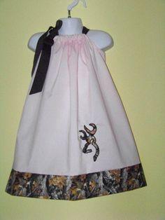 Camo & Lt. Pink  Deer Pillowcase Dress / Duck by KarriesBoutique, $30.00