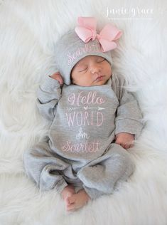 Baby Girl Coming Home Outfit Baby Girl Clothes Personalized Baby Girl Gift Hello World Outfit. - Baby Girl Coming Home Outfit Baby Girl Clothes Personalized Baby Girl Gift Hello World Outfit Newborn Girl Clothes Newborn Girl Hat, Source by - Girls Coming Home Outfit, Newborn Coming Home Outfit, Newborn Girl Outfits, Newborn Baby Girl Clothes, Newborn Girls, Baby Girls Clothes, Baby Girl Clothing, Summer Clothes, Baby Essentials