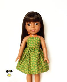 Halter Dress, Floral, Green, Orange, 14.5, AG Wellie Wishers Doll Clothes by JoDeePetites on Etsy https://www.etsy.com/listing/496167621/halter-dress-floral-green-orange-145-ag
