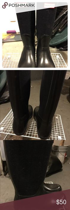 Hunter Boots - size 10 Tall Hunter boots originally purchased from Nordstrom for $200. Black with dark navy plaid print. Plenty of wear left in these classics! Hunter Boots Shoes Winter & Rain Boots