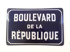 Vintage French Curved Enamel Street or Road by LePasseRecompose