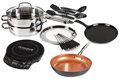 Enjoy this Special Deal Buy The Portable Induction Cooktop NuWave PIC Flex Starter Set Stainless Steel and Non-stick Cookware