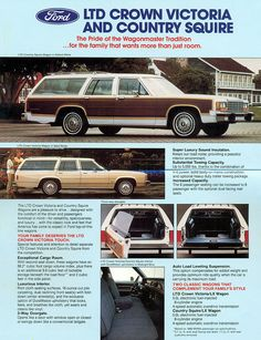 1986 Ford Country Squire & LTD Crown Victoria Station Wagon American Classic Cars, Ford Classic Cars, Station Wagon, Ford Ltd, Car Brochure, Old Fords, Car Advertising, Us Cars, Ford Motor Company