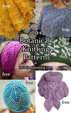 Mostly leaf-based projects for spring, including headband, shawls, coats, etc. Knitted Flowers Free, Knitted Flower Pattern, Baby Hat Knitting Patterns Free, Knit Patterns, Creative Knitting, Easy Knitting, Knitted Tea Cosies, Knitting Accessories, Couture