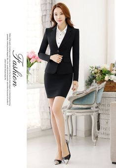 a28c9af7f85fe Details about Elegant Office Lady Blazer Skirt Suit Formal Women Business Suit  Female Workwear