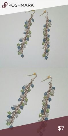 "Long Silver Multi-color Beaded Earrings Gorgeous long Silver tone metal earrings.  Fish hook style with backs.  Measures 2.75"" long.  Beads are light green, pale blue, and marine blue colors.  Excellent used condition! Jewelry Earrings"