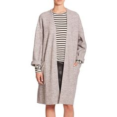SET Long Knit Cardigan (€410) ❤ liked on Polyvore featuring tops, cardigans, apparel & accessories, grey melan, long sleeve knit tops, layering cardigans, long knit cardigan, long sleeve cardigan and gray cardigan
