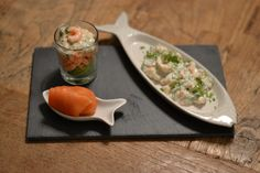 Trio van visamuses Kitchenware, Tableware, Canapes, Fish And Seafood, Starters, Cantaloupe, Tapas, Low Carb, Van