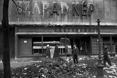 ERICH LESSING - HUNGARIAN REVOLUTION 1956 --- The damaged editorial offices of 'Szabad Nép' (Free People), the principal daily paper of the Communist Hungarian Workers' Party. The surviving inscription reads 'The People' (A Nép) More photos here: http://blog.burnedshoes.com/post/80507359045