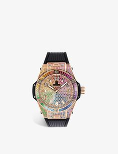 465.OX.9910.LR.0999 Big Bang One Click Rainbow 18ct king-gold, gemstone and satin watch Orange Sapphire, Blue Topaz, Team Gifts, Trends, Gemstone Colors, Ox, Bigbang, Rolex Watches, Bangs