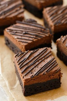 Brownie Recipes 157555686938647437 - Chocolate Mousse Brownies from Lindsay Landis Just Desserts, Delicious Desserts, Dessert Recipes, Yummy Food, Health Desserts, Yummy Treats, Sweet Treats, Chocolate Desserts, Chocolate Brownies