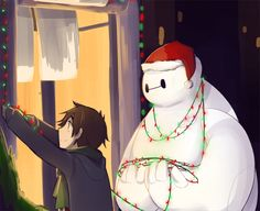 AWWWW! SO CUUUUTE! Baymax is helping Hiro decorate the house!