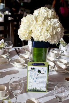 white hydrangea wedding centerpiece   Wedding flowers by Sophisticated Floral Designs. Portland, OR  photo by Courtney Jade Photography http://sophisticatedfloral.com/