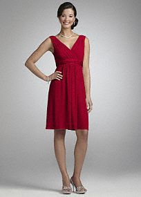 Comfortableand stylish, this jersey dress is a great option for your bridemaids and has plenty of wear-again potential.  Sleeveless tank bodice features elegant V-neckline.  Charmeuse trim highlights the waist.  Jersey fabric flows gracefully for a look that is soft and chic.  Back zip. Imported polyester blend. Hand wash or dry clean.  To protect your dress, our Non Woven Garment Bag is a must have!   Select colors are on sale. Please click color and size to view pricing