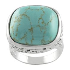 Sterling Silver Created Turquoise Filigree Ring $34