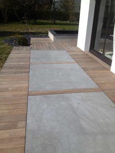 Concrete tiled concrete terraces Nantes – Brian Hayes - All About Balcony Terrace Design, Patio Design, Garden Design, Concrete Patios, Modern Backyard, Backyard Patio, Back Gardens, Outdoor Gardens, Deck Flooring