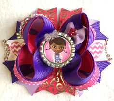 Doc McStuffins Girls Hair Bow/Doc McStuffins Inspired Hair Bow/Girly Curl Bow/Purple Pink Lamby Stuffy Henrietta Doc McStuffins Hair Bow by GirlyCurlBowtique on Etsy