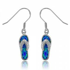 Sterling Silver Blue Opal Flip-Flop Earrings $32.99