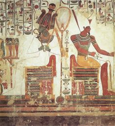 The gods Atum and Osiris – Ancient Egyptian wall painting from the tomb of Nefertari (wife of Ramesses II) Dynasty: BC, Valley of the Queens, near Deir el-Bahri.(Atem-Ra the Sun and Osiris the Sun of the underworld)