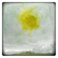 TITLE : Soleil    Fine Art Print of an original photograph digitally combined with painting  Yellow painted sun on a landscape photography - Abstract