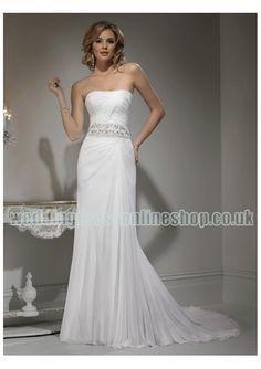 Wedding dress online shop - Chiffon Strapless Rouched Bodice with Beaded Waistline and Slim Sheath Skirt 2011 Fashion Informal Wedding Dress WM-0432