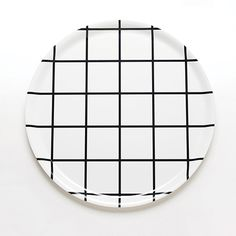 Grid Black Round Tray | Unison