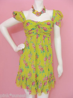 Betsey Johnson Faded Rose Crinkle Chiffon Babydoll Green Floral SIlk Dress