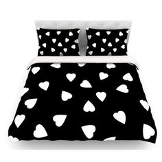 East Urban Home Hearts by Suzanne Carter Featherweight Duvet Cover Color: Black/White, Size: Queen