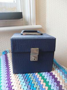 "Vinyl 7"" Record single Storage Box Carry Case vintage Blue vintage #vinyl 70s"