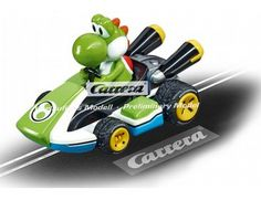 The Carrera Go!!! 1/43 Nintendo Mario Kart 8 - Yoshi, is a superbly detailed race car for use on any 1/43 Carrera Go!!! slot car layout. Image is of preliminary design, final model may vary. No jolly cart race on the super-speedy Carrera race circuit is complete without Mario's faithful companion Yoshi.