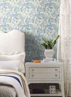Coral Shells Wallpaper in Blue design by York Wallcoverings