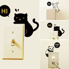 Removable Creative Home Light Switch Funny Wall Decal Vinyl Wall Stickers #Unbranded #ArtsCraftsMissionStyle