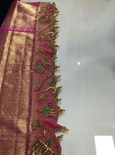 Saree Tassels Designs, Saree Kuchu Designs, Blouse Neck Designs, Half Saree Lehenga, Silk Saree Kanchipuram, Aari Embroidery, Saree Border, Designer Blouse Patterns, Green Satin