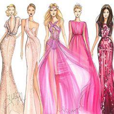 Pink fashion illustrations