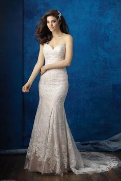 Lace Wedding Dresses | Allure 9350 | Allure Bridals by Gateway Bridal & Prom | SLC Utah Bridal Shop | Worldwide Shipping | Trailing beadwork accents the delicate lace on this strapless gown.   FABRIC:English Net and Charmeuse  COLORS:White, Ivory, Antique/Ivory  SIZES:2-32