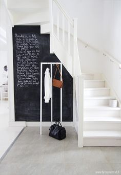 Ideas for stairs, staircases and stairways! Entry Stairs, Entry Hallway, Entryway, Hallway Inspiration, Interior Inspiration, Chalkboard Decor, Blackboard Wall, Chalk Wall, Chalkboard Drawings