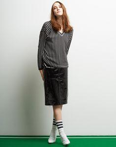 Le Ciel Bleu Striped V-neck Pullover and Patent Pencil Skirt