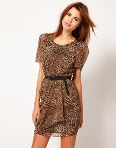 Enlarge Jovonnista Belted Leopard Print Dress