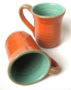 orange and turquoise mugs