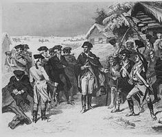 General George Washington and a Committee of Congress at Valley Forge. Winter 1777-78. Copy of engraving after W. H. Powell, published 1866 (Library of Congress)