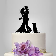 Hey, I found this really awesome Etsy listing at https://www.etsy.com/listing/219105635/wedding-cake-topper-silhouette-your-dog