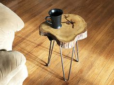 Live Edge Coffee Table of Locust Slab Wood Live Edge Accent