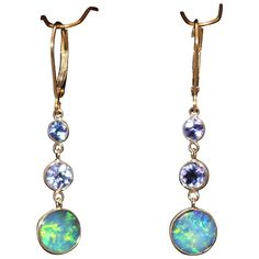Natural Australian Opal and Tanzanite Line Earrings in 18KT Yellow Gold from Ruby Lane/Samantha Cham NYC