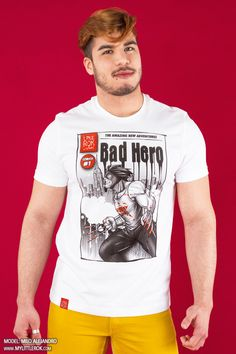 """MyComics: Think of a hero, a comic book, a symbol... every month an exclusive T-shirt, brand new and young.  Are you ready to assume the role of a hero and to live month after month this adventure? This time a cover. The """"bad"""" hero, wild and elusive, """"Bad Hero""""...As always with the dedicated collector...#MyLittleRok #LittleRok#LittleRokOriginal #tshirt#subscription #subscriptionBox"""