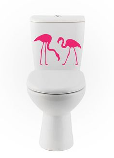 Flamingo wall DECALs bird Home Decor toilet Vinyl by EyvalDecal, $20.00