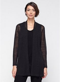 Straight Cardigan in Polished Linen Knit. One of my favorite go to sweaters.  #eileenfisher