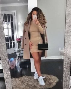 Winter Mode Outfits, Winter Fashion Outfits, Look Fashion, Fall Outfits, Beige Dress Outfit, Dress Outfits, Dresses Dresses, Fall Dresses, Fashion Dresses